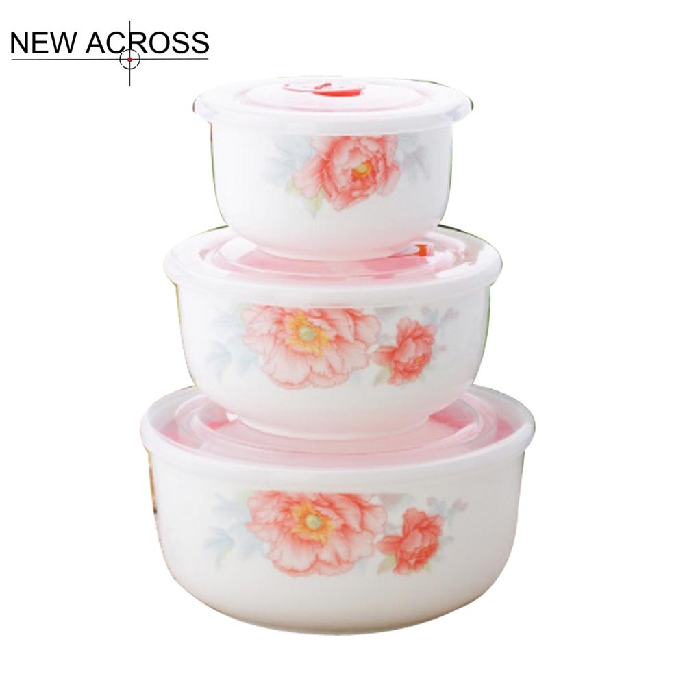 JUH Lusterware Eternal Rose 3pcs/Set Plastic Box Plastic Bowl Kitchen Utensils Seal Bowl With Safety Sealed Bowl With Lid Set