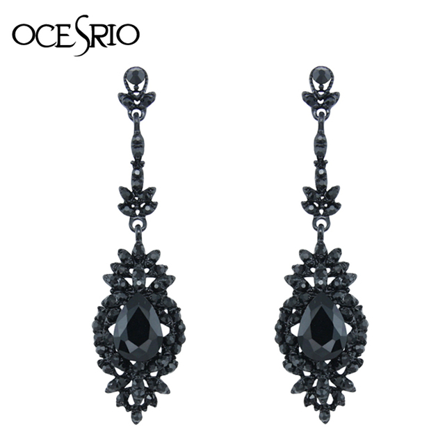 Ocesrio Cool Punk Long Black Earrings With Stones Vintage Gothic Hanging Party Fashion Jewelry Kolczyki