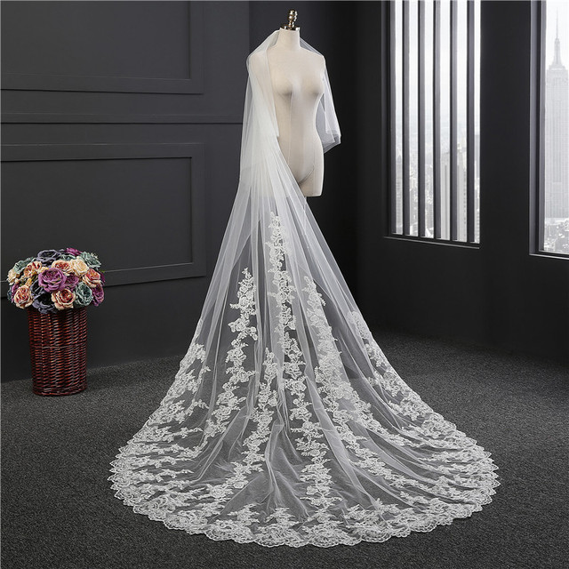 Promotion 3 M Luxurious Wedding Veil Meters Long 18 Width Top Quality Cathedral