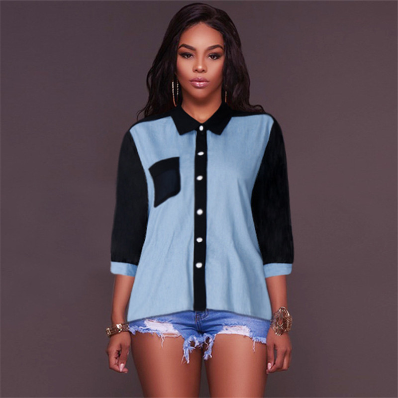 afe9dbfcc0c49 Big Plus Size 5XL 4XL Women Denim Blouse Shirts Ladies Patchwork Chiffon  Tops (2)