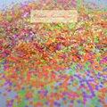 """50 g/lote 1/24 """"1mm color de la mezcla de neón de color rosa, amarillo, orange esmalte de uñas de neón brillo resistente a los disolventes polvo fluorescente de uñas glitter"""