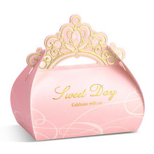 Pink Crown Candy Box Wedding Gift 50pcs Sweet Day Gift Boxes Packaging Paper Chocolate Box for Guests Baby Shower Party Supplies(China)