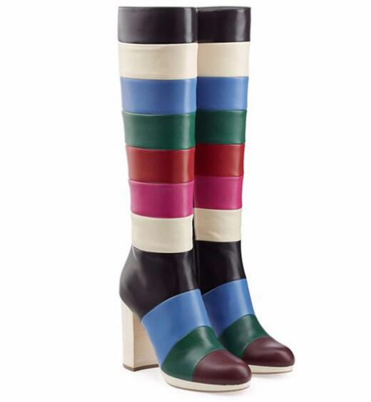 High quality!Winter woman fashion keep warm boots Mixed colors round toe chunky high heel knee-high rainbow boots SIZE 34-44 high quality full grain leather and pu mixed colors boots size 40 41 42 43 44 zipper design lace up decoration round toe boots
