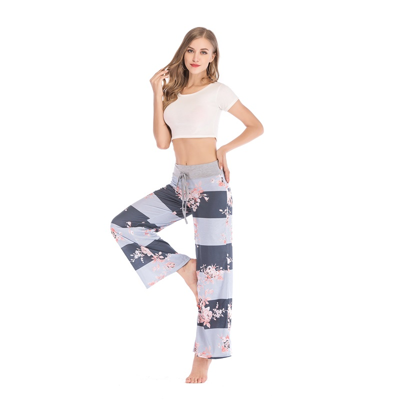 2018 New Fashion Floral Print Women Loose Workout   Pants   Casual Long   Wide     Leg     Pants   Casual Cotton Loose Trousers Plus Size S-XXXL