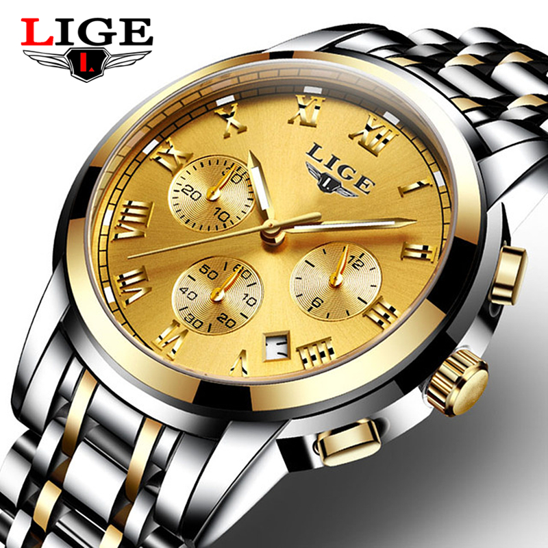 LIGE Mens Watches Brand Luxury Male Sport Quartz Watch Men's Waterproof stainless steel Wristwatch Man Clock Relogios Masculino weide popular brand new fashion digital led watch men waterproof sport watches man white dial stainless steel relogio masculino