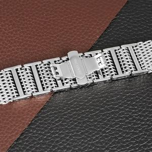 Image 5 - 22/24 ミリメートルシルバー/黒サメメッシュステンレス鋼時計バンドプッシュボタン隠しクラスプ男性腕時計ストラップ調節可能なブレスレット