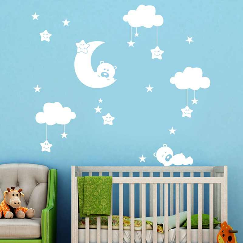 Cute Large Size Baby Nursery Room Moon And Star Vinyl Wall Stickers Cute Smiling Stars With White Clouds Baby Room Decor