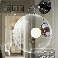New Clear Minimalism Bubble Glass Led Plate Chrome Metal Wall Lamp Bedroom Corridor Dia30cm Led Wall