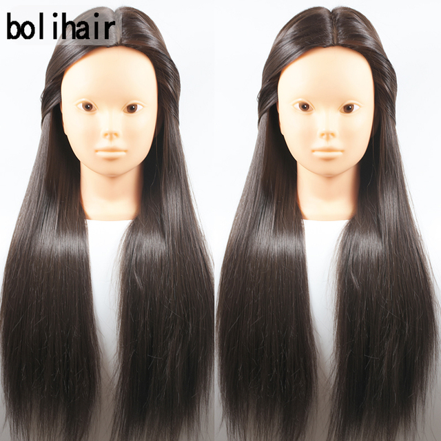 Training Mannequin Head With Hair 65cm Synthetic Fiber Cosmetology Hairdressing Dolls Manikin Heads Hairstyles
