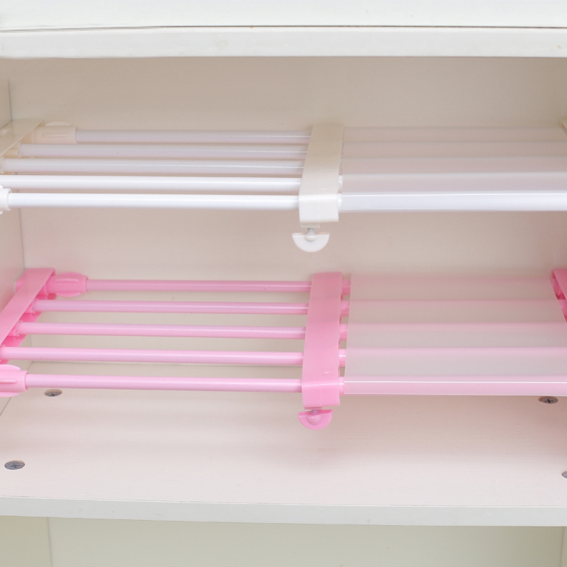 Stretching Wardrobe Storage Rack Adjustable Shelf Dividers Cabinet Divider Organizer Clothes Rack Bathroom Organizer Dormitory