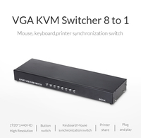 Unnlink KVM Switches 8 Port VGA In 1 Display Out USB Share Manual With Manual Wire