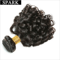 Spark Brazilian Bouncy Curly Hair One Bundle Only Natural 1B Human Hair Extensions 8 28 Inch