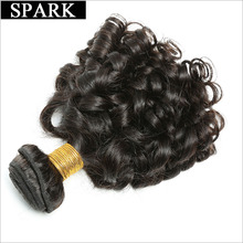 Spark Brazilian Bouncy Curly Hair Bundles Natural Color Human Hair Extensions 8″-26″ Remy Hair Weave Can Be Dyed Free Shipping
