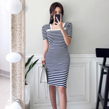 Summer  Women Dress Korean Style Slim Waist Striped knit Dre