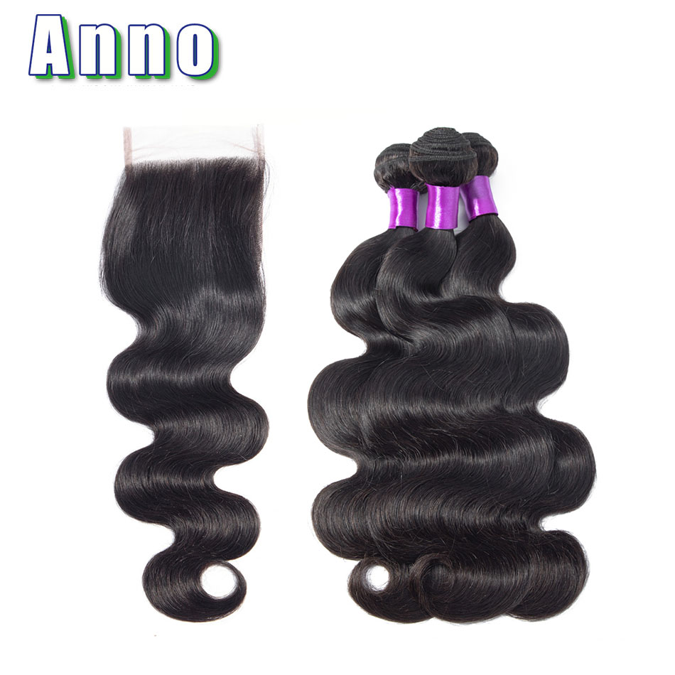 Annowig Body Wave 3 Bundles With Closure Brazilian Hair Weaves Human Hair Bundles With Lace Closure