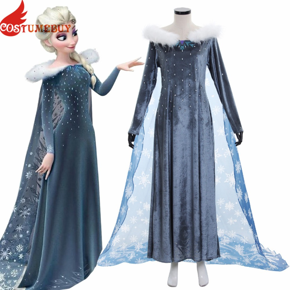 Costumebuy Olaf s Adventure Princess Elsa Dress Anna Snow Queen Cosplay Adult Women Girl Costume Halloween