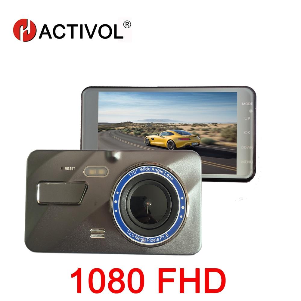 HACTIVOL Full HD 1080FHD voiture DVR 4 pouces 2.5D IPS écran voiture caméra double lentille Dash Cam enregistreur vidéo Vision nocturne g-sensor
