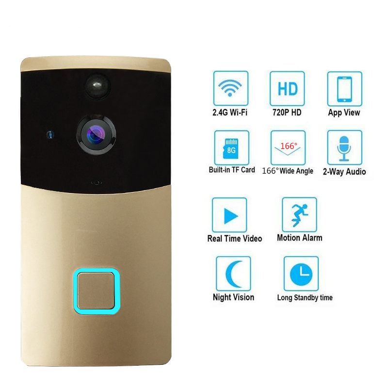 JEX Smart Wireless Video Doorbell Intercom System WiFi Video Doorbell Security Camera With PIR Motion Detection