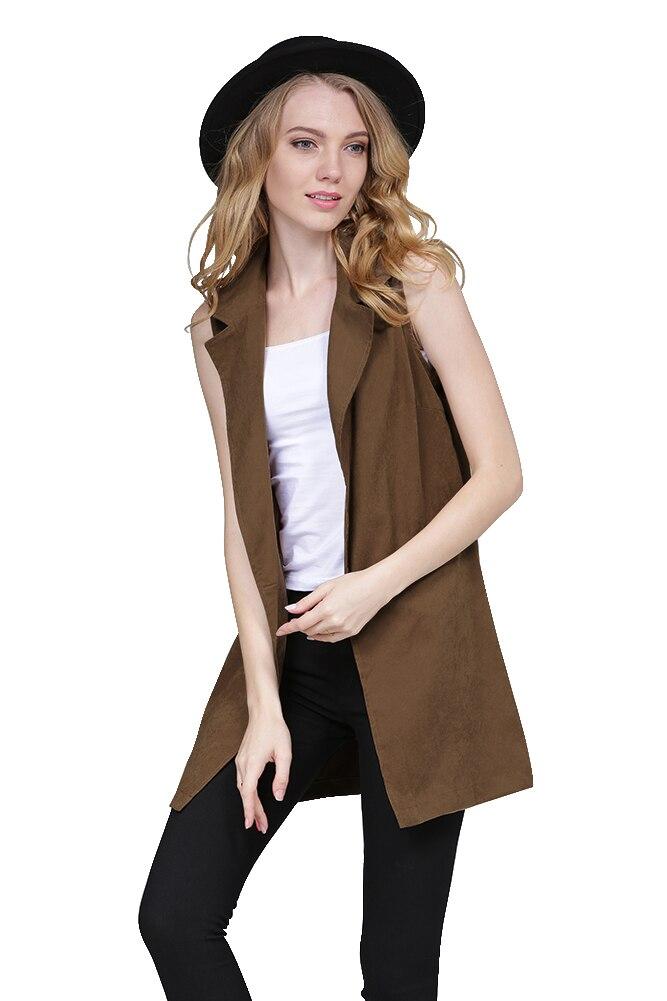 Women Black Long Vest Coat EU Style Waistcoat Sleeveless ...