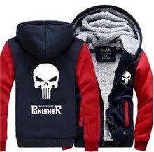 Venta caliente 2016 nuevo invierno espesar hombres camisetas anime cráneo el punisher chaqueta para hombres fleece con capucha de los hombres de la marca clothing