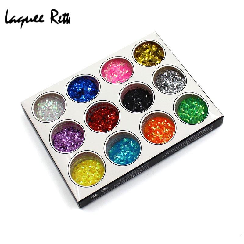 Charming 12color 3d Lovely Hexagon Glitter Palette Nail Art