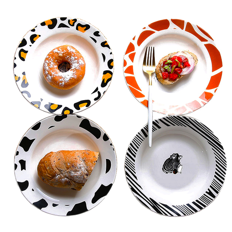 Leopard Print Salad Dishes Ceramic Food Tray Special Animals Figure Deep Plate Cartoon Pasta Plate Dinnerware Illustration 1pcs-in Dishes u0026 Plates from Home ...  sc 1 st  AliExpress.com & Leopard Print Salad Dishes Ceramic Food Tray Special Animals Figure ...