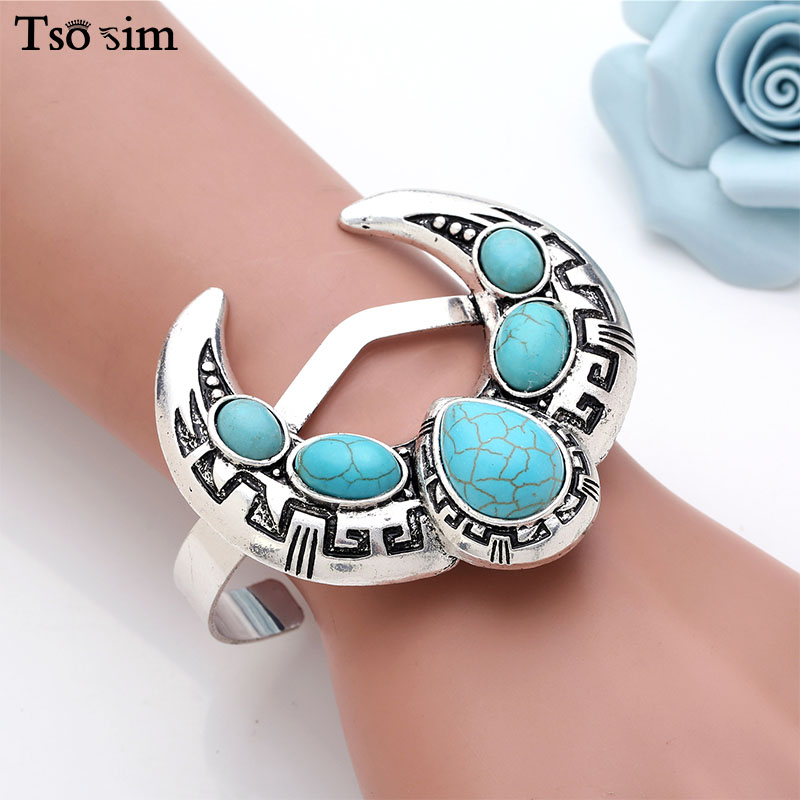 Women Retro Bangles Ancient Silver Oval Natural Stone Moon Pattern For Girl Bohemian Statement Stretch Bracelet Ethnic Jewelry