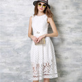 Summer Female Lace Long Dresses Young High Waist Sleeveless Slim Lace Long Dress Kawaii Oculos De Sol Feminino Robe Longue Femme