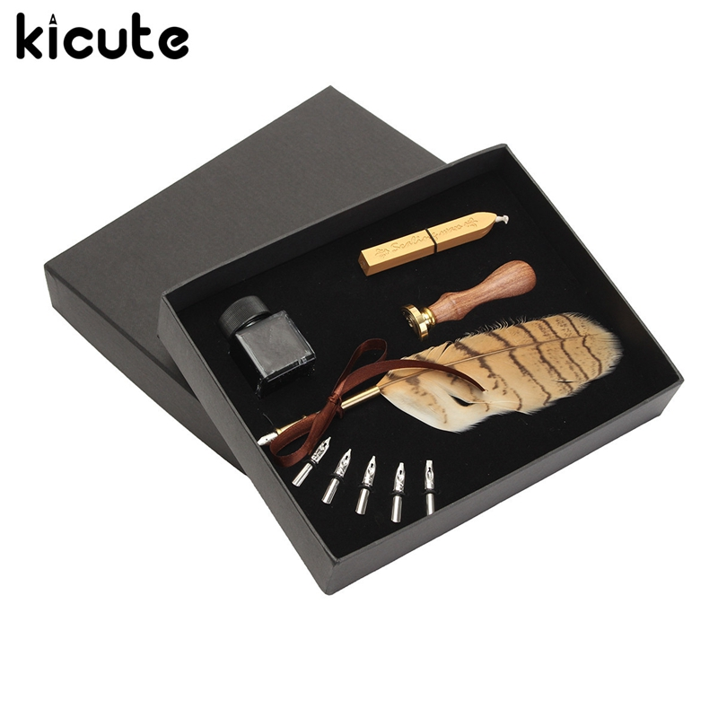 Kicute Modern Owl Stamp Feather Quill Dip Pen Set Fountain Pen Writing Ink Seal Wax Spare Tip Antique Gift Box School Supply