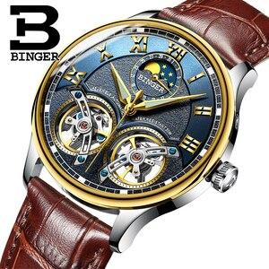 Image 5 - 2020 yeni mekanik erkek saatler Binger rol lüks marka İskelet bilek safir su geçirmez İzle erkekler saat erkek reloj hombre