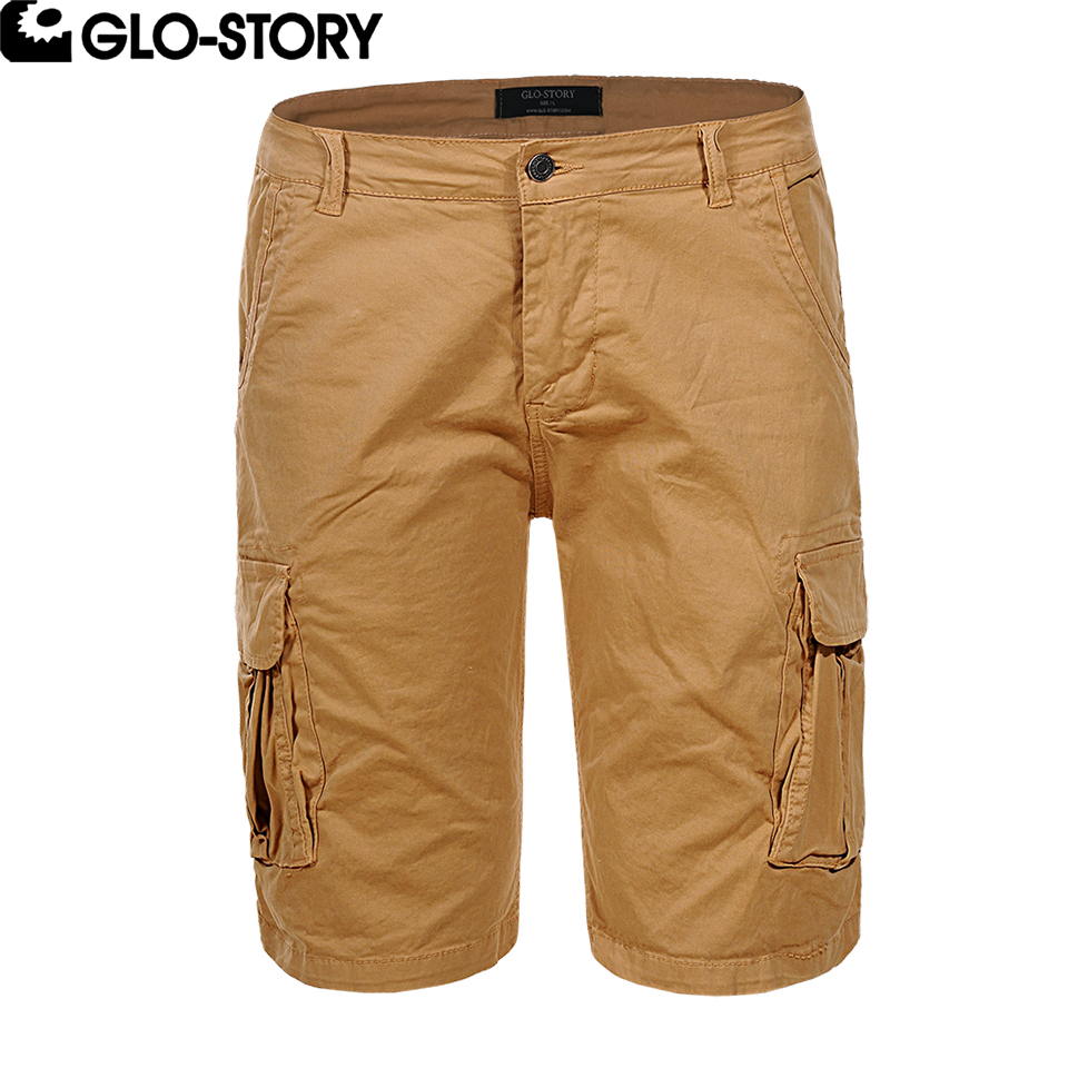 GLO-STORY 2018 Summer Cargo Shorts For Men Knee Length Cotton Short Pants MMK-6232