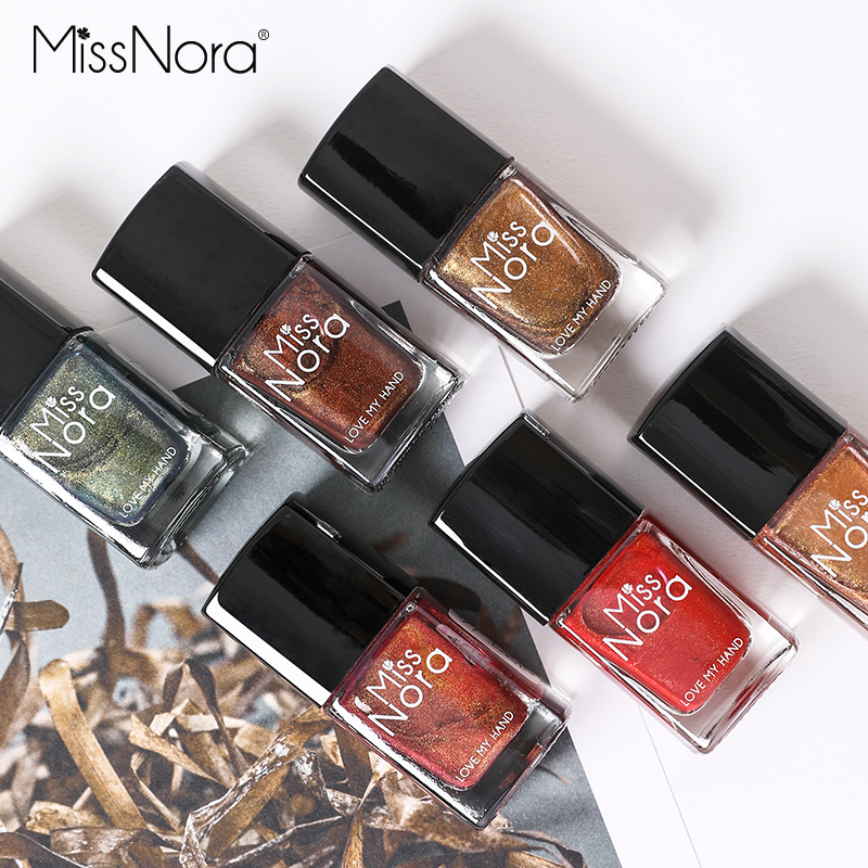 MISS NORA Waterborne 6ml Bling Nail Polish Army Green Color Changing Quick Drying Cats Eye Oil Gel Magnet Art