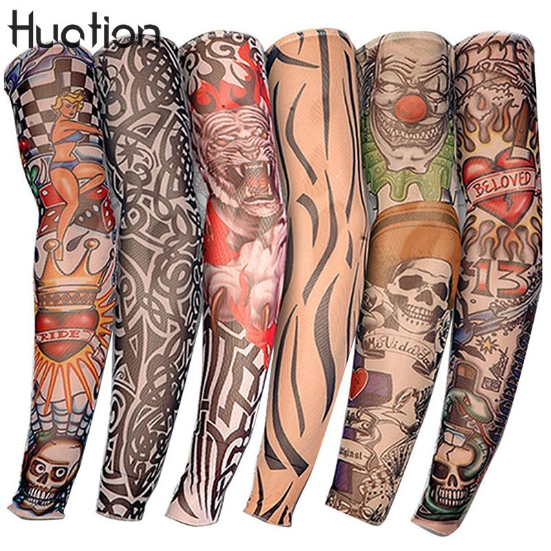 Huation 1PC Cycling Sports Tattoo Sleeves  UV Cool Arm Sleeves Cycling Running Arm Warmer Sport Elastic Oversleeve Arm Warmers