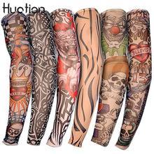 Huation 1шт Велоспорт Спорт рукава татуировки рука теплее УФ прохладный бег спорт эластичный нарукавник подогреватели