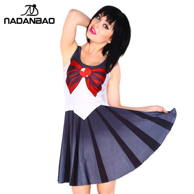 938d1ea335a7 NADANBAO Winter Women Skater Dress Sailor Moon Lovely Dresses Sexy  Sleeveless Siamese Pleated Dress Short Women