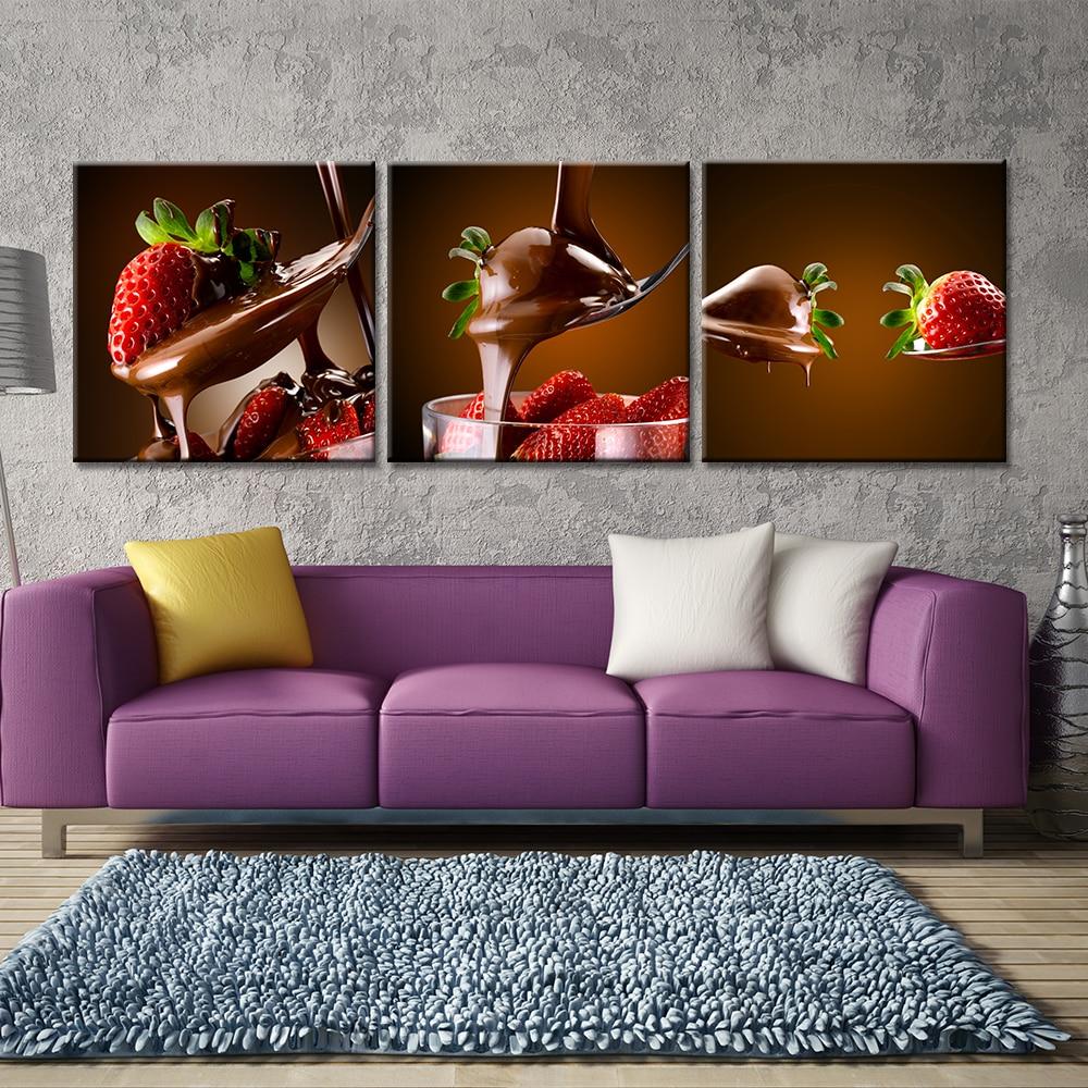 US $5.98 30% di SCONTO|3 Pezzi di Cioccolato Fragola Su Tela Della Parete  Frutta Poster e Stampe Quadri Moderni per Soggiorno Senza Cornice-in  Pittura ...