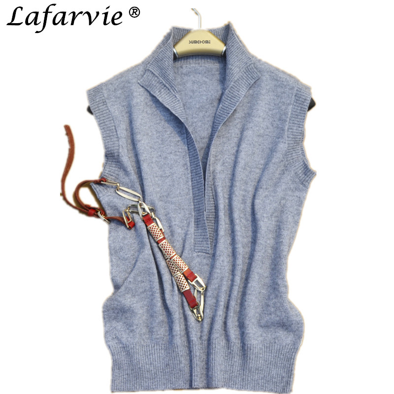 Lafarvie Fashion Casual Spring&Autumn Cashmere Blended Turn-down Collar Sleeveless Vest Shrug Sweater Women Pullover Pull Femme