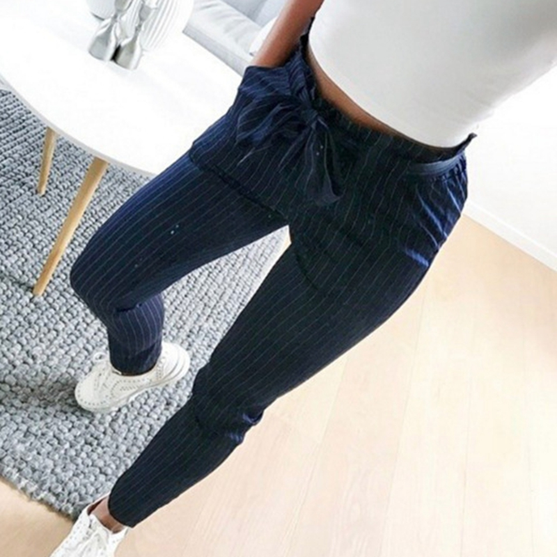 Fashion Women's High Waist Drawstring Elastic Long Pants Casual Pencil Trousers