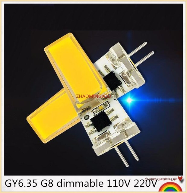 1PCS LED COB 10W GY6.35 G8 110V 220V dimmable HA CONDOTTO LA GY6.35 110V LED G8 220V cob2508 dimming led g6.35 220v cob2508 di cristallo di Luce