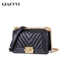 2019 kuh Leder Luxus Handtasche Frauen Aus Echtem Leder Schulter Taschen Designer Kette Tasche Weibliche Messenger Taschen für Dame 25cm /21cm