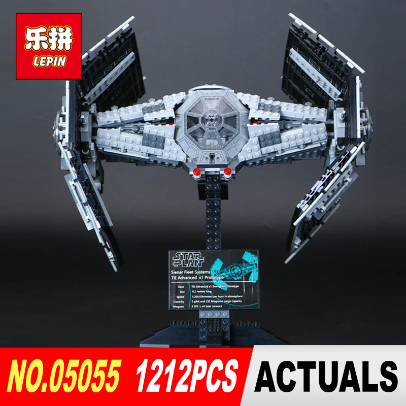 LEPIN 05055 legoed Star Vader TIE advanced fighter Wars aircraft Model Building Blocks Bricks toy Compatible to Children Toys new 1685pcs lepin 05036 1685pcs star series tie building fighter educational blocks bricks toys compatible with 75095 wars