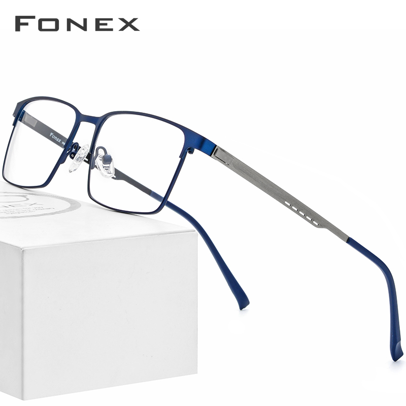 FONEX Alloy Glasses Frame Men Ultralight Square Myopia Prescription Eyeglasses 2019 Metal Full Optical Frames Screwless Eyewear