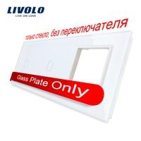 Free Shipping Livolo White Pearl Crystal Glass 222mm 80mm EU Standard 2Gang 1 Frame Glass Panel
