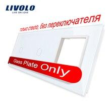 Frete Grátis, Livolo Cristal Branco Pérola de Vidro, 223mm * 80mm, padrão DA UE, 2 Gang & 1 Quadro Painel de Vidro, VL-C7-C1/C1/SR-11