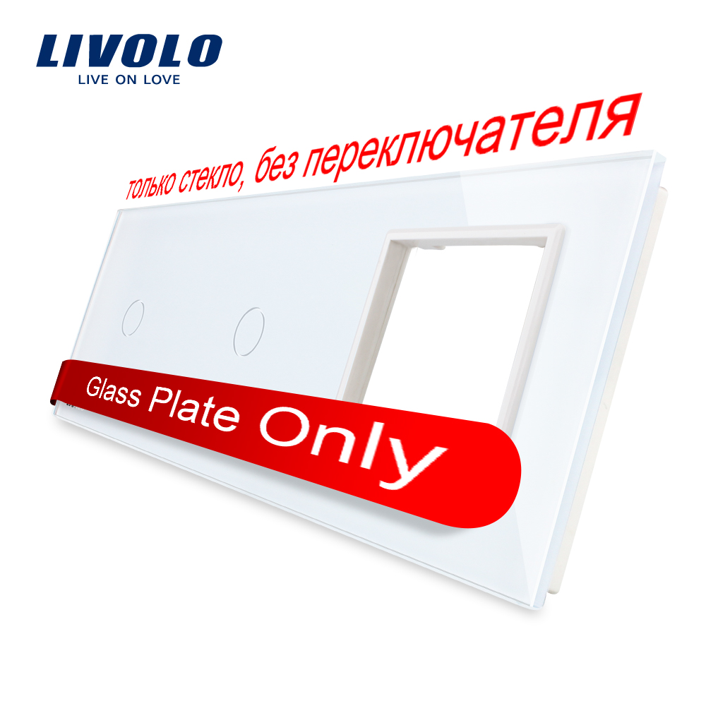 Livolo White  Pearl Crystal Glass, 222mm*80mm, EU Standard, 2Gang &1 Frame Glass Panel, VL-C7-C1/C1/SR-11 (4 Colors)