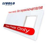 Vidrio de cristal de perla blanca Livolo, 222mm * 80mm, estándar europeo, Panel de vidrio de 2 bandas y 1 Marco, VL-C7-C1/C1/SR-11 (4 colores)