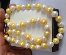 Beautiful 18″ INCH NATURAL SOUTH SEA 10-11MM WHITE + GOLDEN PEARL NECKLACE BRACELET Yellow CLASP