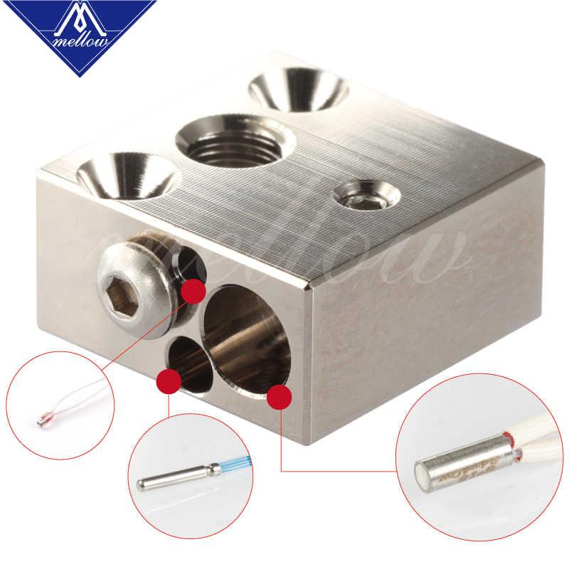 Mellow 3D Printer CR8 CR10 Tembaga Berlapis Blok Dipanaskan untuk Micro Swiss Hotend MK8 Nozzle