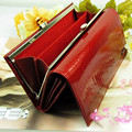 Classic portefeuille femme crocodile pattern cowhide leather long design women wallet genuine leather japanned female wallet