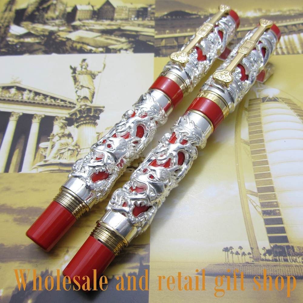 2pcs pen Jinhao Long Feng heavy silver red Chinese classical luck clip free shipping 2pcs pen jinhao long feng heavy gold red chinese classical luck clip dragon and pen bag free shipping